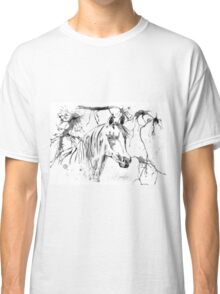 Abstract Ink - Black And White Arabian Horse Classic T-Shirt