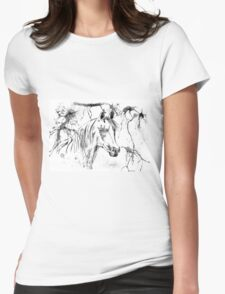 Abstract Ink - Black And White Arabian Horse Womens Fitted T-Shirt
