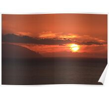 Amazing sunset over the Tenerife island Poster