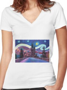 Starry Night in Prague Women's Fitted V-Neck T-Shirt