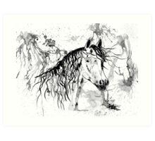 Abstract Ink - Black And White Arabian Horse II Art Print