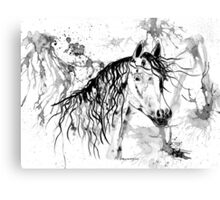 Abstract Ink - Black And White Arabian Horse II Canvas Print
