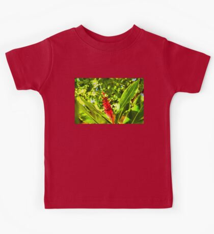 Tropical Impressions - Red Ginger Flower Kids Tee