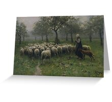 Shepherdess With a Flock of Sheep by Anton Mauve Greeting Card