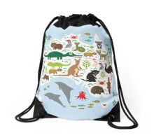 Australian animal map and ocean Drawstring Bag