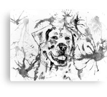 Abstract Ink - Golden Retriever Black and White Canvas Print