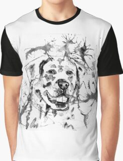 Abstract Ink - Golden Retriever Black and White Graphic T-Shirt