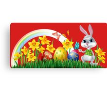 Easter Bunny With Eggs Canvas Print