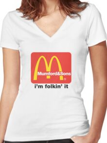 Mumford and Sons - i'm folkin' it Women's Fitted V-Neck T-Shirt