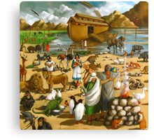 Noah and the Ark, Animals, Rainbow, Painting Canvas Print