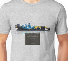 Fernando Alonso - Renault R26 - British Grand Prix - Geek Stats version Unisex T-Shirt