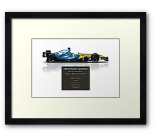 Fernando Alonso - Renault R26 - British Grand Prix - Geek Stats version Framed Print