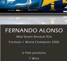 Fernando Alonso - Renault R26 - British Grand Prix - Geek Stats version Sticker