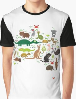 Australian animal map  Graphic T-Shirt