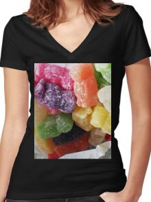 Jelly Babies in a white paper bag Women's Fitted V-Neck T-Shirt