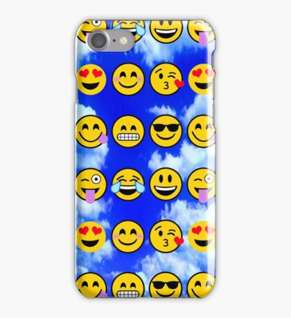 emoji Blue Sky Puffy Clouds  iPhone Case/Skin