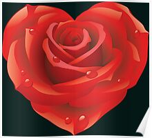 Love Heart Red Rose Poster