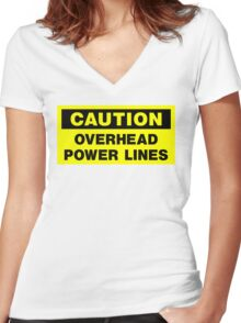 Caution Women's Fitted V-Neck T-Shirt