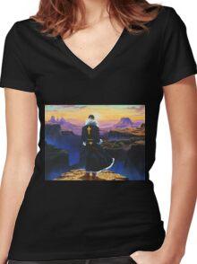 hunter x hunter 1999 chrollo lucilfer sunrise Women's Fitted V-Neck T-Shirt