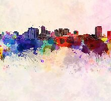 London ON skyline in watercolor background by paulrommer