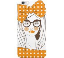 Orange pop art woman wearing glasses. iPhone Case/Skin