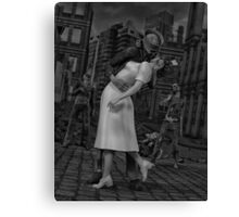 Zombies Kiss BW Canvas Print