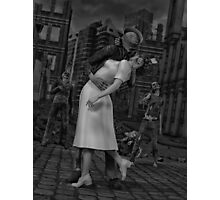 Zombies Kiss BW Photographic Print