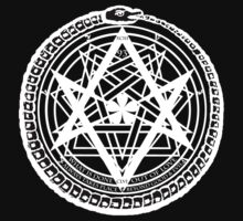 Thelemic Babalon Ouroboros with Nietzsche quote and Enochian script by knuse
