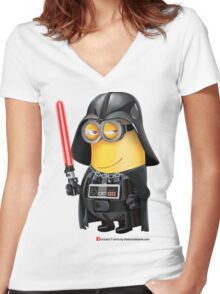 Minion Darth Vader Women's Fitted V-Neck T-Shirt