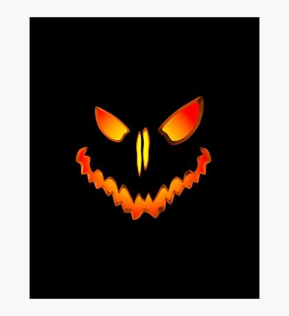 Spooky Jack O Lantern Face Photographic Print