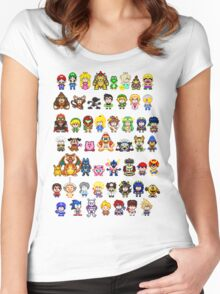 Super Smash Bros Wii U - Pixel Art Characters Women's Fitted Scoop T-Shirt