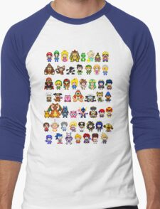 Super Smash Bros Wii U - Pixel Art Characters Men's Baseball ¾ T-Shirt