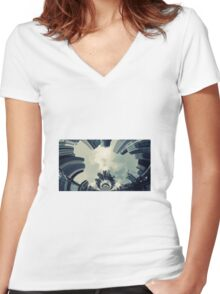 Abstract city Women's Fitted V-Neck T-Shirt