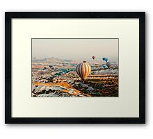 Flying hot air balloon over the Cappadocia Framed Print