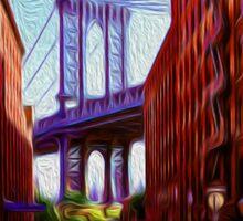 Down under Manhattan Bridge overpass Sticker