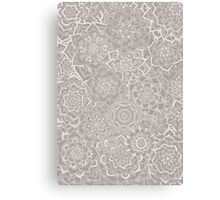 Delicate Lace Mandala Pattern (Grey/Cream) Canvas Print