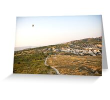 Flying hot air balloon over the Cappadocia Greeting Card
