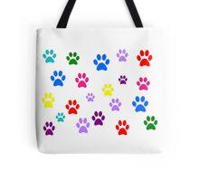 Multi-colored Paws Tote Bag