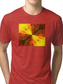 Bold Red, Green and Gold Abstract Kaleidoscope Tri-blend T-Shirt