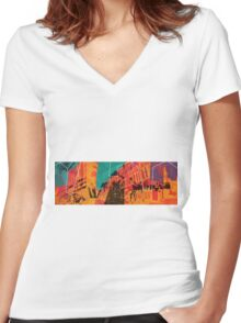 I live in the city Women's Fitted V-Neck T-Shirt