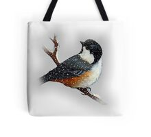 Chickadee in  Snow, Original Art, Wildlife Art, Bird Tote Bag