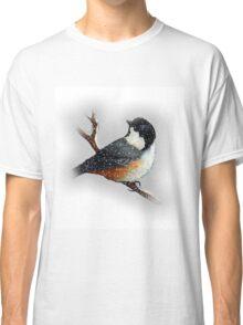 Chickadee in  Snow, Original Art, Wildlife Art, Bird Classic T-Shirt