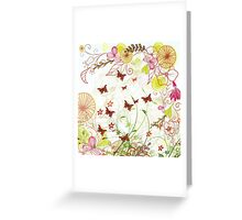 Colorful pink green flowers butterfly floral pattern  Greeting Card