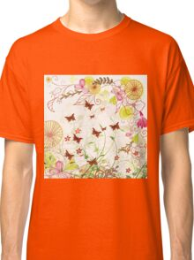 Colorful pink green flowers butterfly floral pattern  Classic T-Shirt