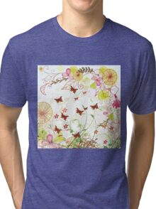 Colorful pink green flowers butterfly floral pattern  Tri-blend T-Shirt