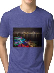 Chicago Skyline with rainbow ribbon of light  Tri-blend T-Shirt