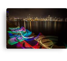 Chicago Skyline with rainbow ribbon of light  Canvas Print