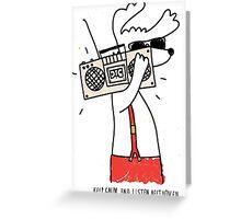 hipster music dog Greeting Card