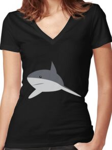 Minimal shark Women's Fitted V-Neck T-Shirt