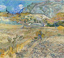 Vincent Van Gogh - Landscape at Saint-Rémy, Enclosed Field with Peasant 1889 by famousartworks